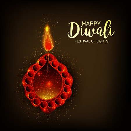 Happy Diwali illustration on a colorful presentation.