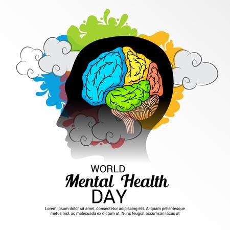 Día Mundial de la Salud Mental. Ilustración de vector