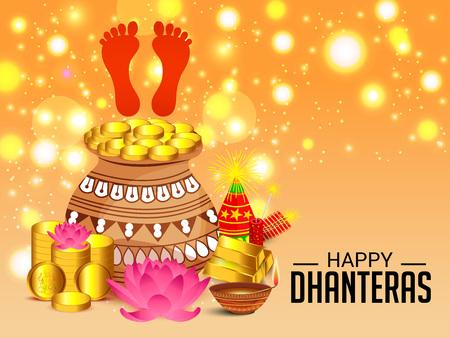 Happy Dhanteras on a colorful presentation.