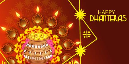 Happy Dhanteras. Vector illustration.