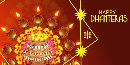 Happy Dhanteras. Vector illustration.