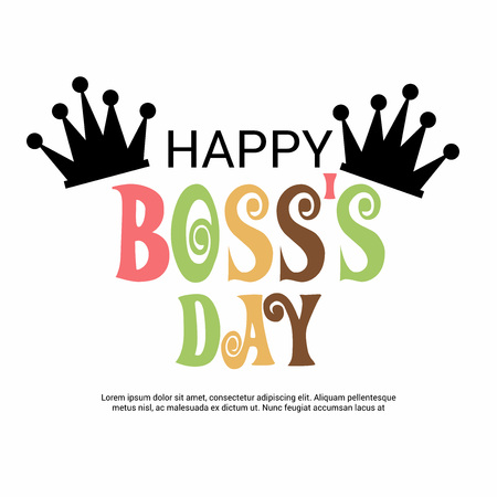 Happy Boss Day with crown 向量圖像