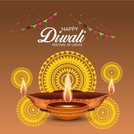Happy diwali festivity of lights icon.