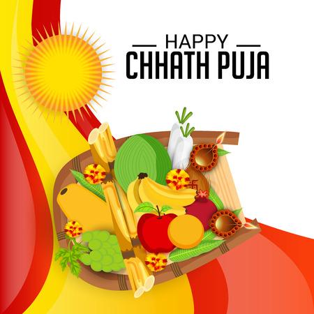 Chhath Puja. Vector illustration.