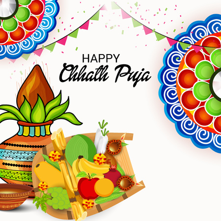 Chhath Puja. Vector illustration.