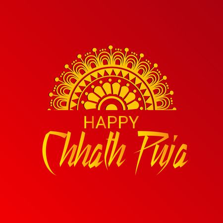 Happy Chhath Puja on red background, vector illustration.