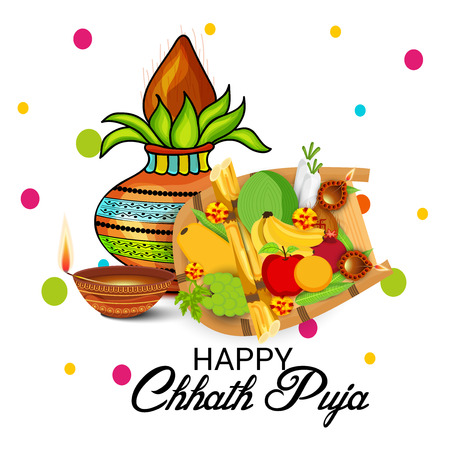 Happy Chhath Puja on white background, vector illustration.