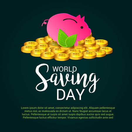 World saving day text with pig and coins vector illustration. Illustration