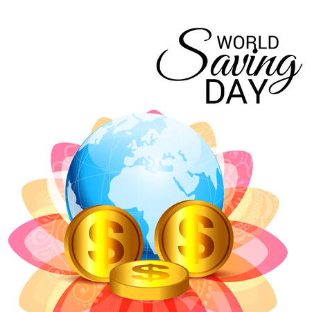 World saving day text with globe and coins vector illustration.