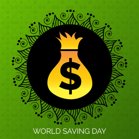World saving day text with sack of coins vector illustration. Illustration