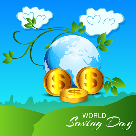World Saving Day - concept abstract  design for Banner, poster with gold dollar coins and a globe on the nature background Illustration