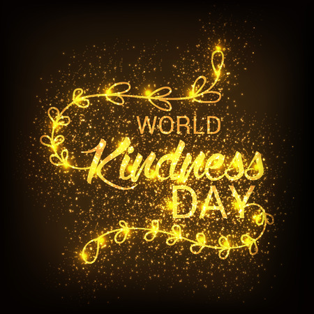World Kindness Day with glittery lines.