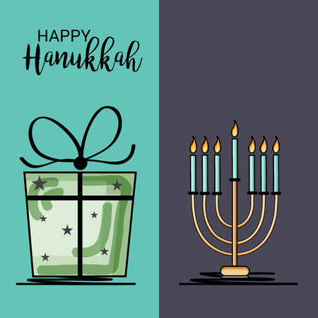 Happy Hanukkah with gift and candles illustration.