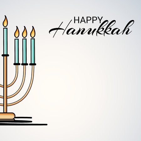 Happy Hanukkah with candles illustration.