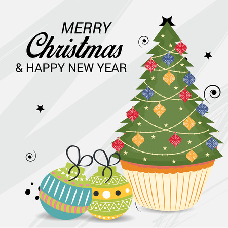 Merry Christmas with tree 向量圖像