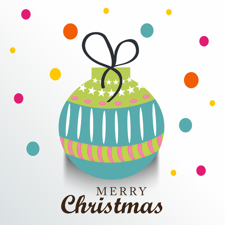 Merry Christmas   in christmas balls and ribbon