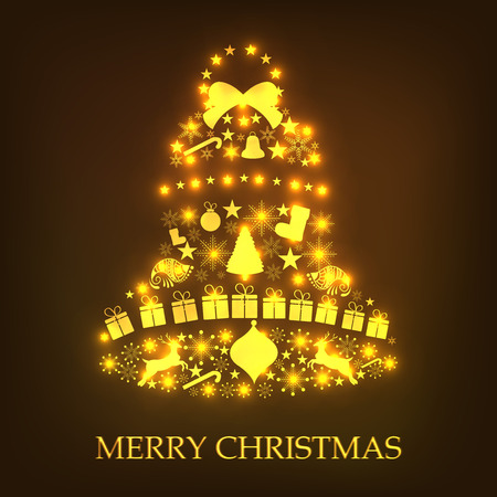 Merry Christmas Vector illustration in the shape of a tree. 向量圖像