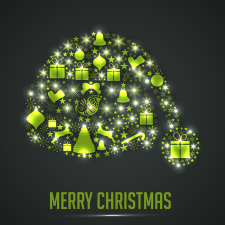 Merry Christmas Vector illustration with gift boxes, tree and christmas objects. 向量圖像
