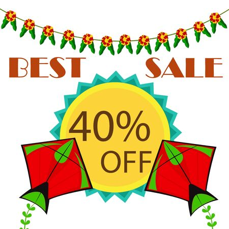 Makar Sankranti sale offer background with kites and bunting flags design.