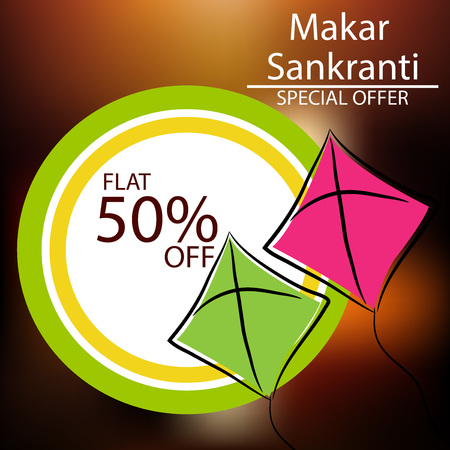 Makar Sankranti sale offer background with kites design. Ilustração