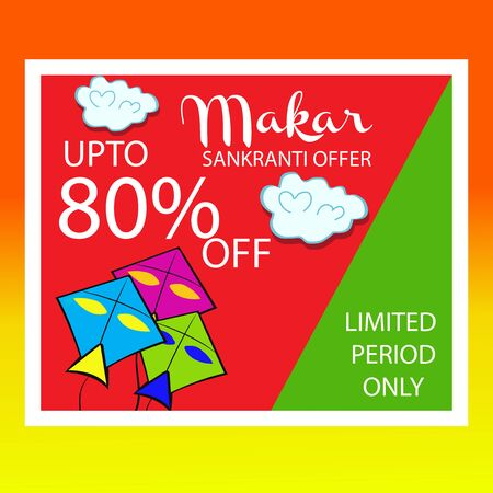 Makar Sankranti sale offer colorful background with kites design.