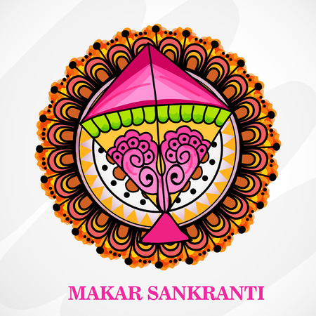 Makar Sankranti sale offer background with kite ornamental design.