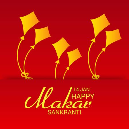 Makar Sankranti background with golden kites design.