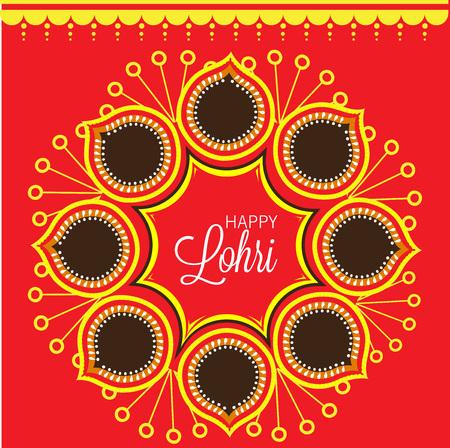 Happy Lohri card template design.