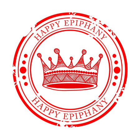 Happy Epiphany vector. With red colour crown. Иллюстрация