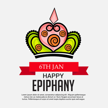 Happy Epiphany card template design. Vettoriali