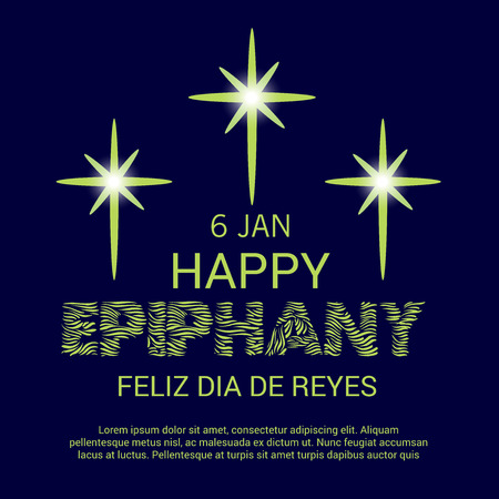 Happy Epiphany card template design. Illustration