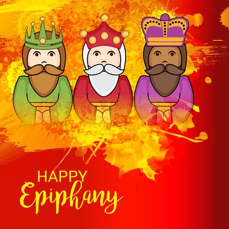 Happy Epiphany colorful illustration.