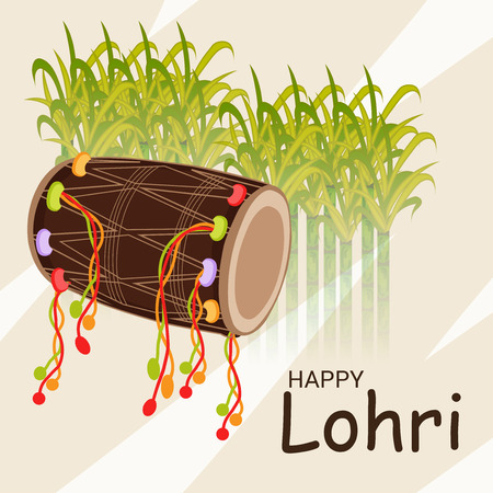 Vector illustration of colorful Happy Hoil with harvest food for festival in India.