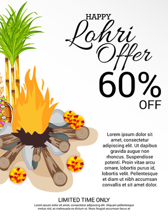Vector illustration of colorful Happy Hoil with bonfire, sale promotion up to 60% off. Shopping advertisement background for festival in India. Illustration