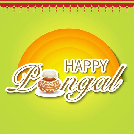 Happy Pongal illustration with sun and pot. Illustration