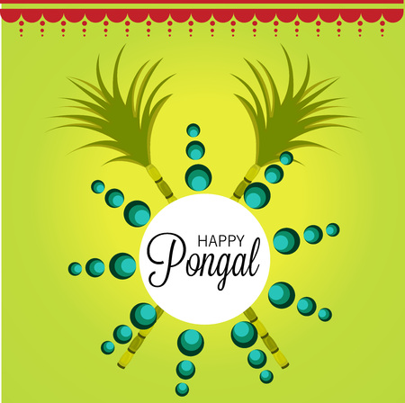 Happy Pongal illustration with sun and leaves.