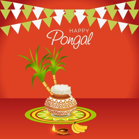 Happy Pongal illustration with pot and leaves.