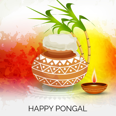 Happy Pongal with pot and leave illustration. Illustration