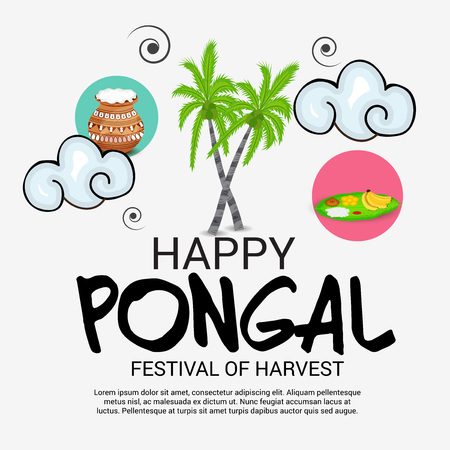 Vector illustration of colorful Happy Pongal with harvest rice and nature for festival in India. Illustration