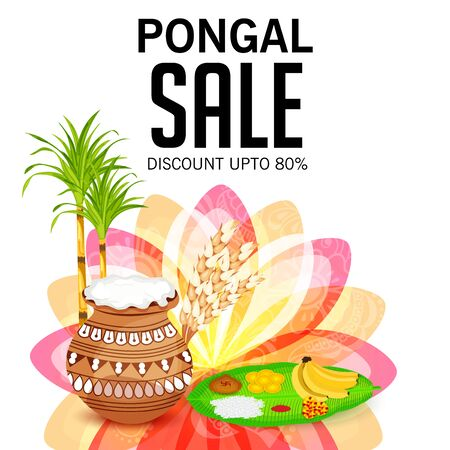 Vector illustration of colorful Happy Pongal with harvest rice, sale promotion up to 80% off. Shopping advertisement background for festival in India.