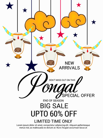 Pongal flyer. Vector illustration.