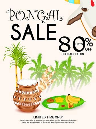 Happy Pongal flyer. Vector illustration.