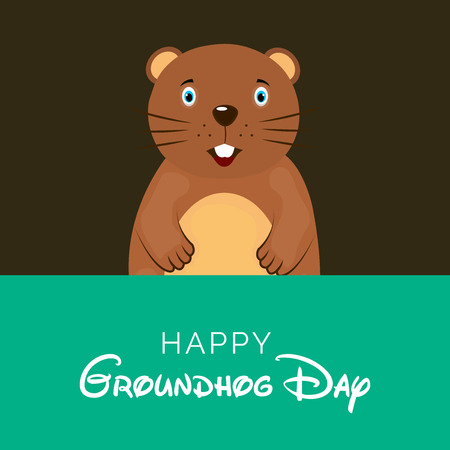 Happy Groundhog Day calligraphy with beaver on green and brown background. Illustration