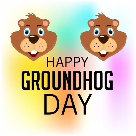 Happy Groundhog Day with groundhog illustration