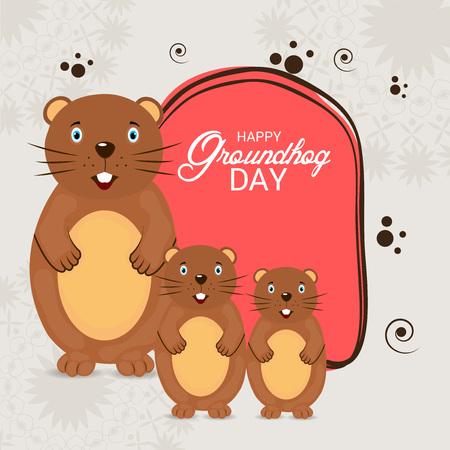 Happy Groundhog Day with groundhog illustration