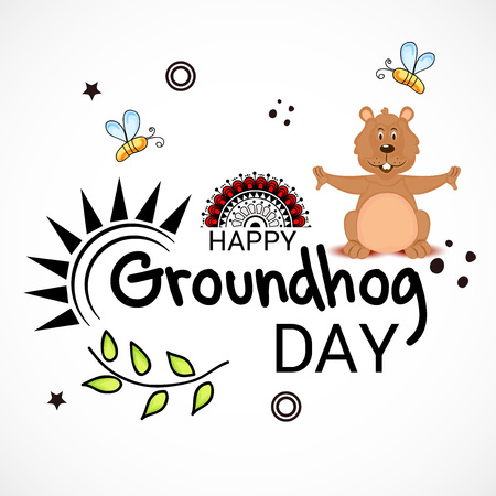 Happy Groundhog Day. Illustration