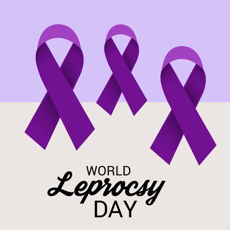 World Leprosy day with purple ribbon.