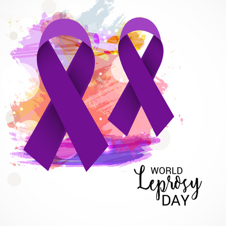 World Leprosy day vector with purple ribbon.