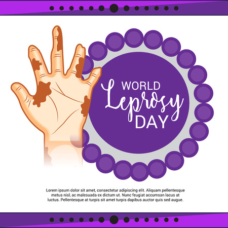 World Leprosy day vector. Hand with scars. Illustration