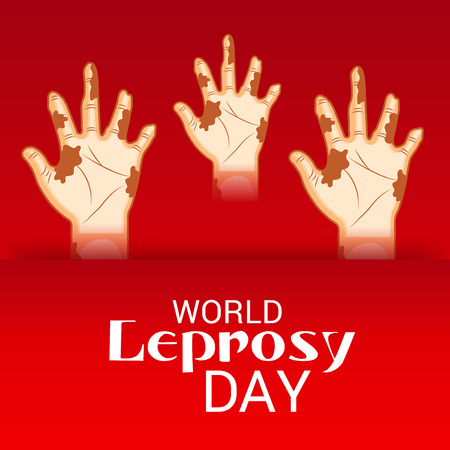 World Leprosy day. Three hands on red background. Vector illustration. Illustration